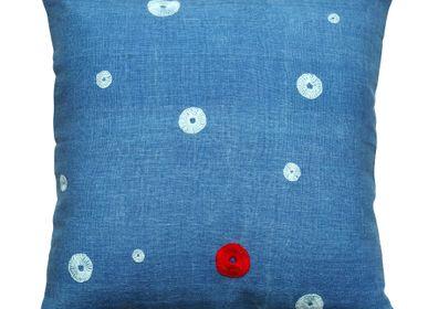 Cushions - Indigo embroidered cushions - STITCH BY STITCH
