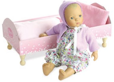 "Toys - Baby doll BIBICHOU 35 cm ""FLEUR"" in her little bed - VILAC-PETITCOLLIN-JEUJURA"