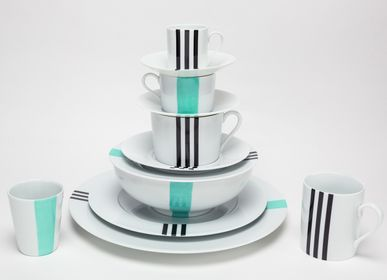Ceramic - Limoges Porcelain Service Turquoise and Black - INES DE NICOLAY