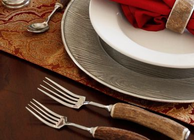 Formal plates - Pewter Wood Charger / Antler Flatware - VAGABOND HOUSE