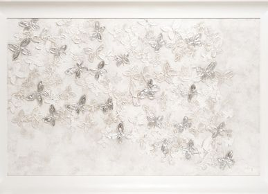 Tableaux - SILVER AND WHITE BUTTERFLIES JOURNEY - BARJ BUZZONI