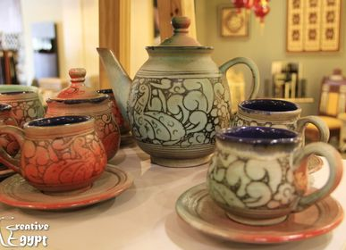 Platter, bowls - Pottery Plate and Pottery Tea Set - CREATIV EGYPT