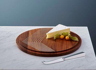 Platter, bowls - silver inlaid cheeseboard - SHONA MARSH LTD