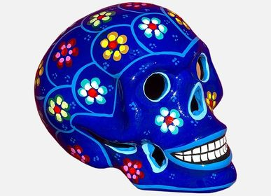 Ceramic - Mexican skull with flowers - TIENDA ESQUIPULAS