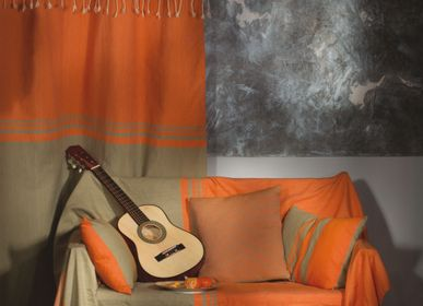 Throw blankets - Rectangular throw 2 x 3 m orange and soft green | T4 - FOUTA FUTEE