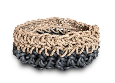 Design objects - Baskets in neoprene yarn and hamp - NEO' DI ROSANNA CONTADINI