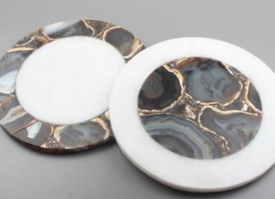 Tea / coffee accessories - Agate + Marble COASTERS - LUXURIOUS ARTS