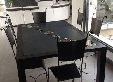 Tables - Mobilier béton ciré et mosaique  - BLEU CITRON MOSAIQUES
