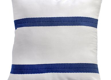 Fabric cushions - Squares cushions 60 x 60cm or 40 x 40cm white and blue|F3 - FOUTA FUTEE