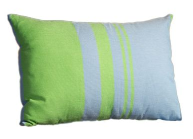 Fabric cushions - Rectangular cushion 35 x 50 cm blue and  green  - FOUTA FUTEE