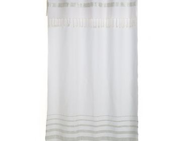 Curtains and window coverings - Flexible curtain ready to hang white and silver lurex stripes IS2 - FOUTA FUTEE