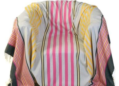 Throw blankets - Square throw 2 x 2 m pink, yellow and light grey AGADIR A1 - FOUTA FUTEE