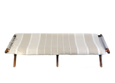 Bed linens - Edredon 180 x 80 cm on fouta beige and white CB3 - FOUTA FUTEE