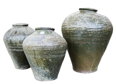 Pottery - Olive Green Storage Jars - THE SILK ROAD COLLECTION