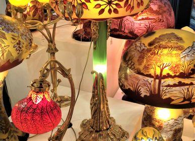 Art glass - Gallé style lamps, multi-layer engraved glass, Art Nouveau - TIEF