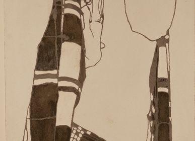 Tiles / flagstones - NeoFresco based on the Egon Schiele's portrait of Gerti. - MARCHAND DE SABLES