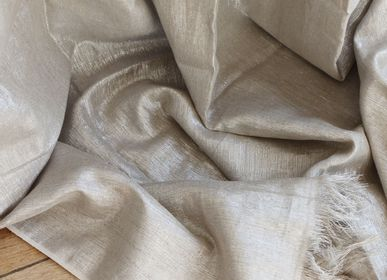Curtains / window coverings - Curtain Platinum, linen and lurex - EN FIL D'INDIENNE...