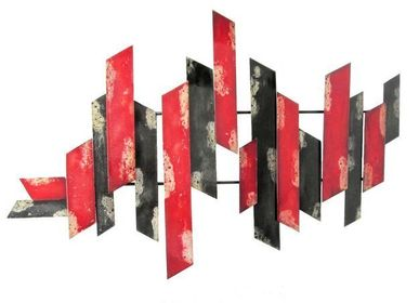 """Cadres - metal frame 90 x 58 cm red and grey design """"modern"""" - COZIC"""