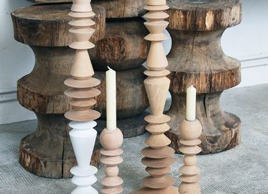 Decorative objects - beech wood candelstick - UN ESPRIT EN PLUS