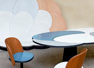 Tables for hotels - glazed lava stone for a restaurant counter and walls - MADE A MANO - ROSARIO PARRINELLO