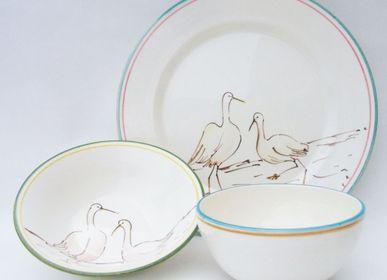"""Assiettes de réception - Vaisselle """"Garzas"""", """" Oiseaux exotiques"""", """"Caribbean Hibiscus"""". - CLAUDIA DE LA HOZ TEXTILE-DECO"""