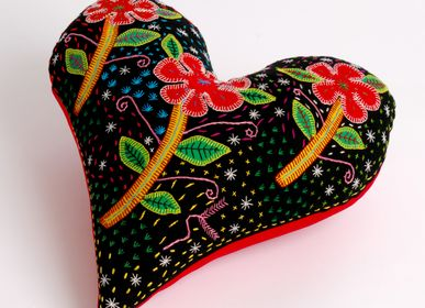 Fabric cushions - EMBROIDERED HEART CUSHIONS - MAHATSARA