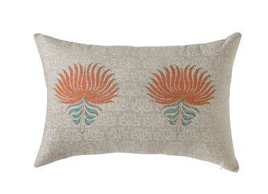 Fabric cushions - Royal Lotus Opulence Cushion Cover - THE INDIAN PICK
