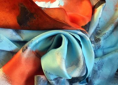 Foulards et écharpes - Foulard 100% Soie/JE Artist Abstract Colour Silk Scarf  - JOURNEY TO THE EAST ART GALLERY