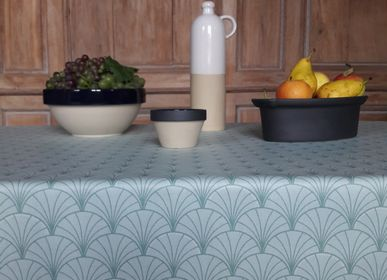 Table cloths - Wipeable coated cotton Papyrus Green - Fleur de Soleil