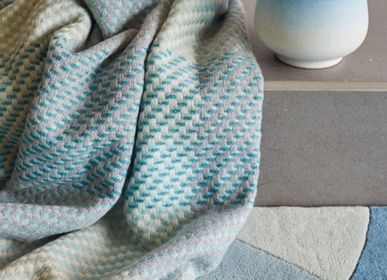 Throw blankets - TURQUOISE PLAID - CLAIRE GAUDION