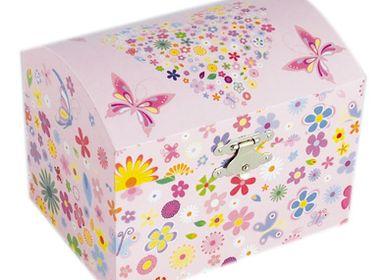 Children's decorative items - Jewelry chest flowers and butterflies - LE MONDE DE LA BOÎTE À MUSIQUE