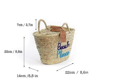 "Shopping basket - Panier Doum Small ""Beach Please"" Marine et turquoise - ORIGINAL MARRAKECH"