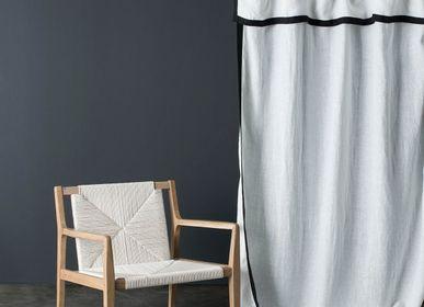 Curtains and window coverings - White washed linen curtain Nice black border 140X270 CM - MAISON D'ÉTÉ