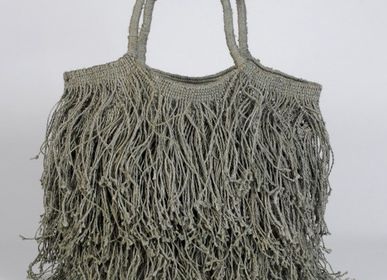 Bags and totes - Jute macramé fringe bag grey - MAISON BENGAL