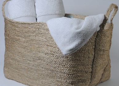 Bathroom storage - Large rectangular natural jute baske - MAISON BENGAL