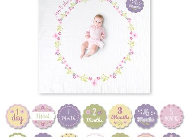 "kids linen - Set ""My first year"" blanket and cards - LULUJO"