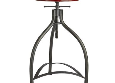 Tabourets - Cooper Leather & Metal Adjustable Bar Stool - 34 Inch - INDUSTVILLE