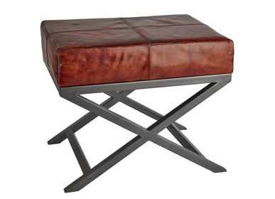 Tabourets - Criss Cross Real Leather & Metal Bench - 17 Inch - INDUSTVILLE