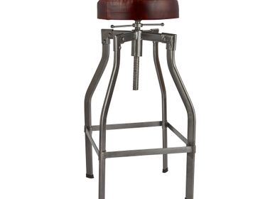 Stools - Turner Leather & Metal Adjustable Bar Stool - 35 Inch - INDUSTVILLE