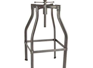 Tabourets - Turner Solid Wood & Metal Adjustable Bar Stool - 35 Inch - INDUSTVILLE