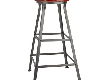 Tabourets - Tall Vintage Real Leather & Metal Work Bar Stool - 32 Inch - INDUSTVILLE