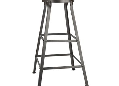 Stools - Tall Solid Wood & Metal Work Bar Stool - 32 Inch - INDUSTVILLE