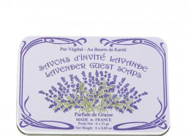Savons - Boîte Métal Savon Invité Parfumé Lavande 6x25g - LE BLANC