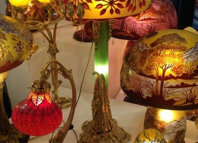 Art glass - Gallé style engraved glass lamps - TIEF
