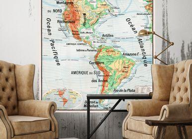 Objets déco - Carte Scolaire de géographie Vidal Lablache n°18 - Continent Américain - CIMENT FACTORY