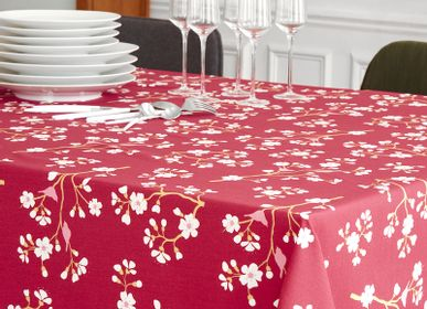 Table linen - Wipeable tablecloth Burgundy Cherry tree - FLEUR DE SOLEIL