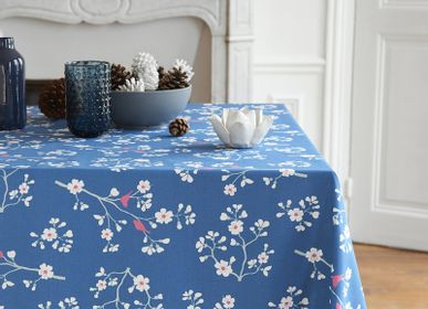 Table linen - Wipeable tablecloth Petrol Blue Cherry tree - FLEUR DE SOLEIL
