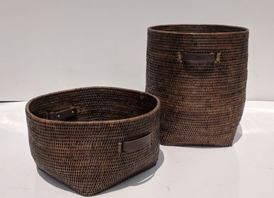 Laundry basket - Brown Rattan Collection with leather handles - BAOLGI
