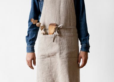 Aprons - Natural Washed Linen Luxury Apron - LINEN TALES