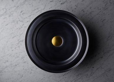 Spas - Vasque NARCIS rond noir brillant, clapet laiton - BASSINES